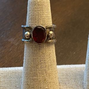 Antiqued silver ruby ring